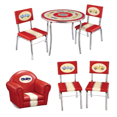 Guidecraft Retro Racers Kids 6 Piece Furniture Set