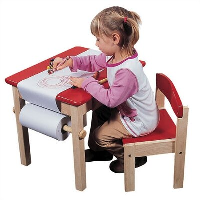 Red Art Table & Chair Set