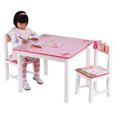 Guidecraft Butterfly Buddies Kids 3 Piece Table and Chairs