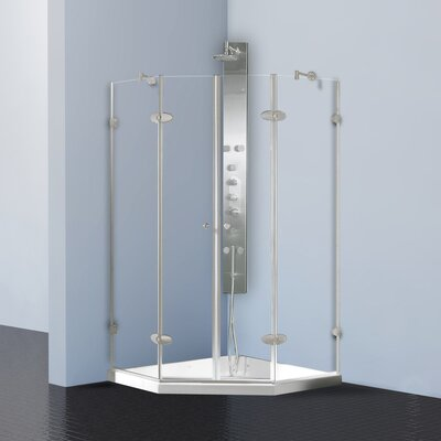 Vigo Neo-Angle French Door Frameless Shower Enclosure with Base