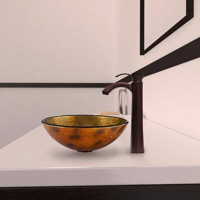 Vigo Glass Vessel Bathroom Sink with Otis Faucet