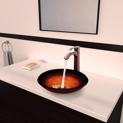 Vigo Magma Glass Vessel Bathroom Sink with Otis Faucet