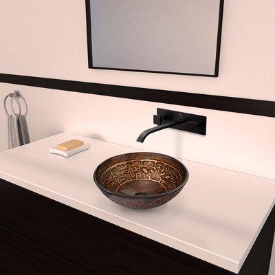 Vigo Golden Greek Glass Vessel Bathroom Sink with Titus Wall Mount Faucet