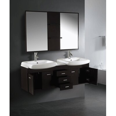"Vigo Contemporary 58.75"" Wall Mounted Double Bathroom Vanity Set"
