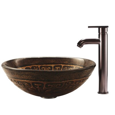 Vigo Copper Mosaic Glass Vessel Sink with Faucet in Oil Rubbed Bronze