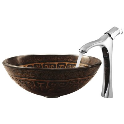Vigo Copper Mosaic Tempered Glass Bathroom Sink