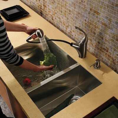"Vigo 29"" x 20"" x 10"" Undermount Double Bowl Kitchen Sink with Faucet and Soap Dispenser"