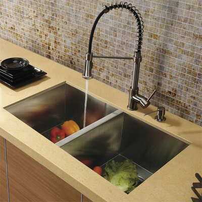 "Vigo 32"" x 19"" Undermount Double Bowl Kitchen Sink with Faucet and Soap Dispenser"