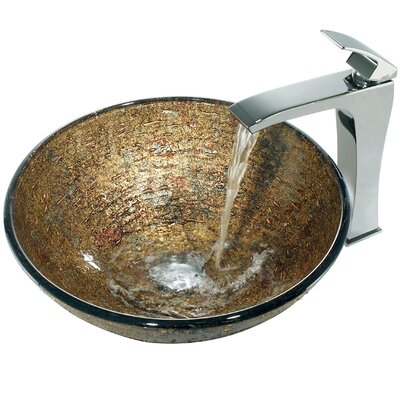 Vigo Glass Textured Bathroom Sink with Square-Edged Faucet