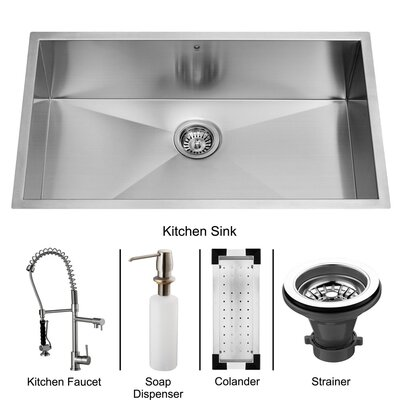"Vigo 32"" x 27"" Undermount Kitchen Sink with Sink, Faucet, Colander, Strainer and Dispenser"