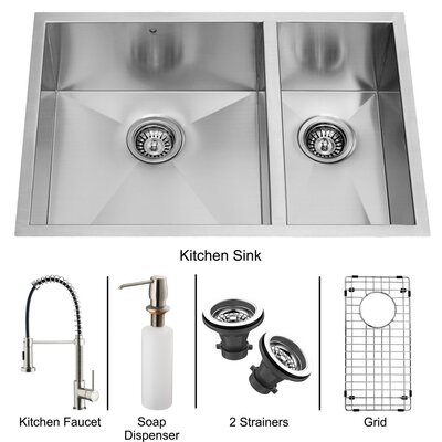 "Vigo 29"" x 20"" Double Bowl Undermount Kitchen Sink with Faucet, Grid, Two Strainers and Dispenser"