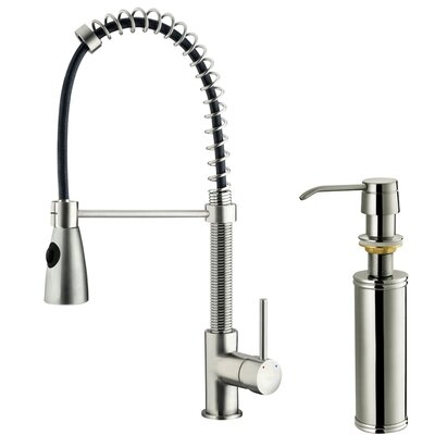 Vigo One Handle Single Hole Pull-Out Spray Kitchen Faucet with Soap Dispenser