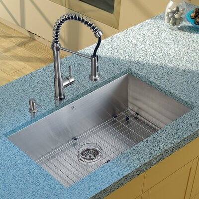 "Vigo 32"" x 19"" Undermount Kitchen Sink with Faucet, Grid, Strainer and Dispenser"