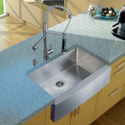 "Vigo 33"" x 27"" Farmhouse Kitchen Sink with Faucet, Strainer, and Dispenser"