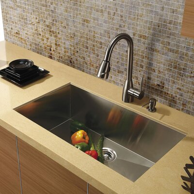 "Vigo 30"" Stainless Steel Undermount Kitchen Sink Set"