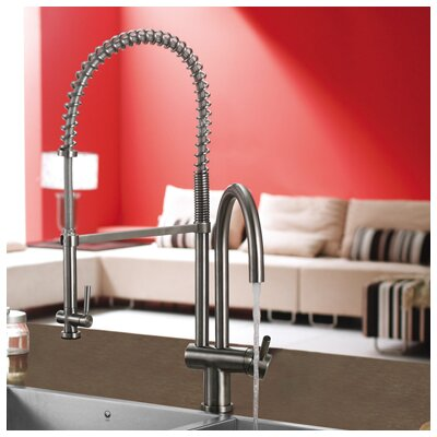 Vigo Single Handle Single Hole Pot Filler Kitchen Faucet with Pull-Down Spray