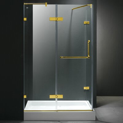 Vigo Frameless Pivot Door Shower Enclosure with Left Drain