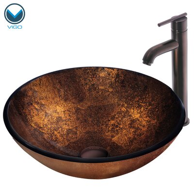 Vigo Russet Glass Vessel Sink with Faucet in Oil Rubbed Bronze