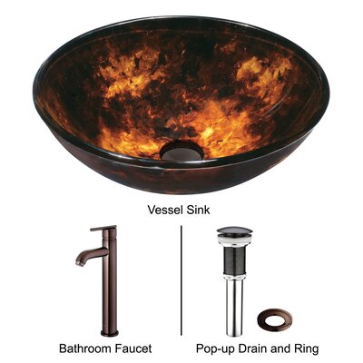 Vigo Autumn Glass Bathroom Sink with Faucet