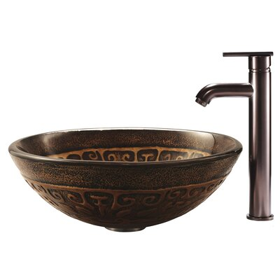 Vigo Copper Mosaic Glass Bathroom Sink with Faucet