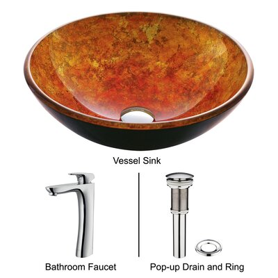 Vigo Eastern Sun Glass Bathroom Sink with Round-Edged Faucet
