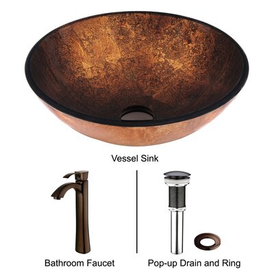Vigo Liquid Copper Glass Bathroom Sink with Faucet