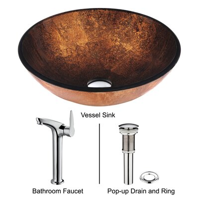 Vigo Bronco Glass Bathroom Sink and Single Lever Faucet
