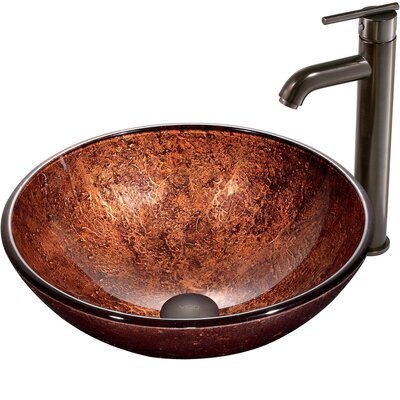 Vigo Mahogany Moon Vessel Sink with Faucet