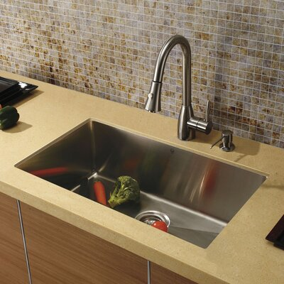 "Vigo 32"" x 19"" Undermount Zero Radius Single Bowl Kitchen Sink with Faucet and Soap Dispenser in Satin"