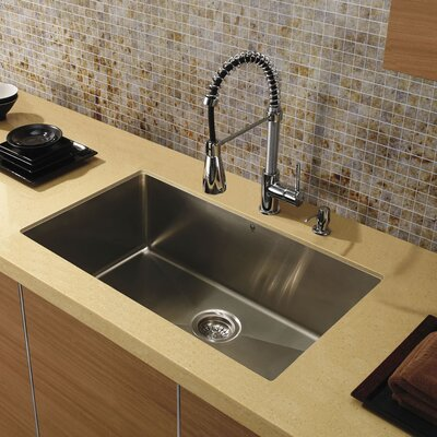"Vigo 32"" x 19"" Super Single Bowl 15 Degree Radius Undermount Kitchen Sink"