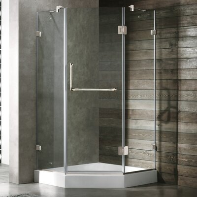 Vigo Frameless Clear Neo-Angle Door Shower Enclosure with Low-Profile Base