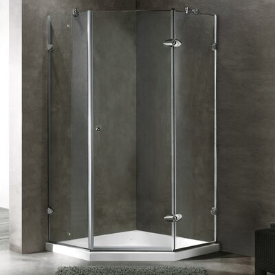 Vigo Neo-Angle Frameless Shower Enclosure with Low-Profile Base