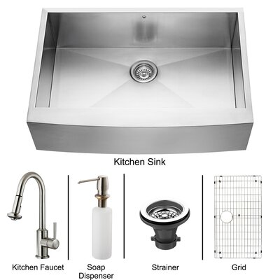 "Vigo All in One 33"" x 22.25"" Farmhouse Kitchen Sink and Faucet Set"