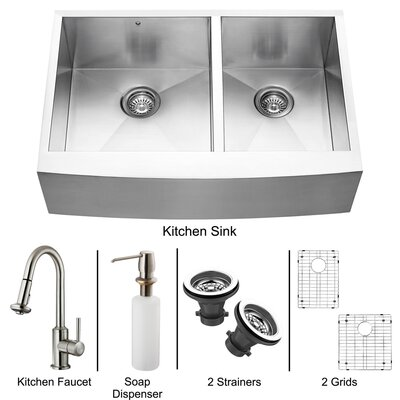 "Vigo All in One 33"" x 22.25"" Farmhouse Double Bowl Kitchen Sink and Faucet Set"