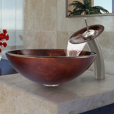 Fusion Glass Vessel Bathroom Sink with Waterfall Faucet - VGT033RBRND