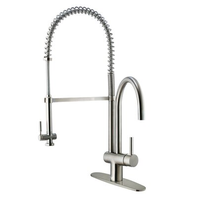 Single Handle Deck Mount Kitchen Faucet with Pull Down Spray and Deck Plate
