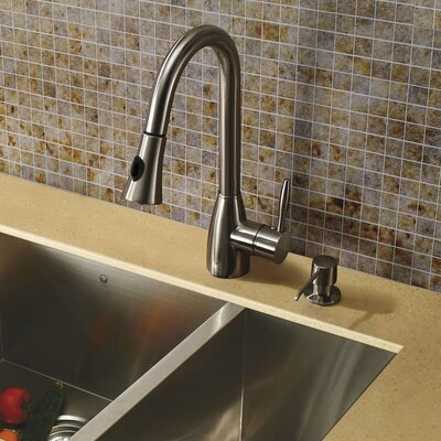 Vigo One Handle Single Hole Kitchen Faucet with Soap Dispenser