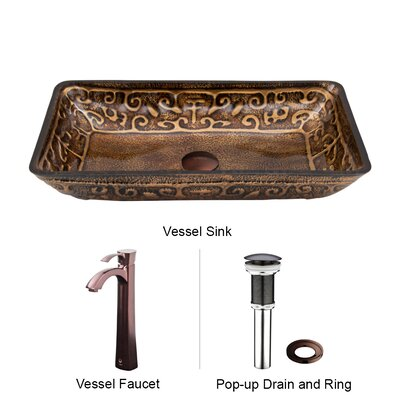 Vigo Golden Greek Glass Vessel Sink with Otis Faucet