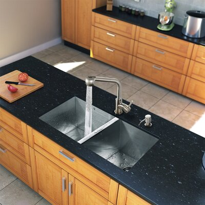 "Vigo 32"" x 19"" Zero Radius Double Bowl Kitchen Sink with Faucet"
