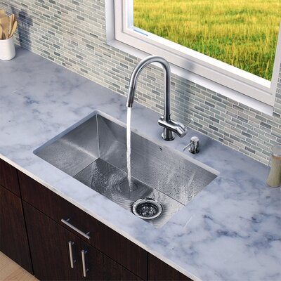 """Vigo 32"""" x 19"""" Zero Radius Single Bowl Kitchen Sink with Pull-Out Faucet"""