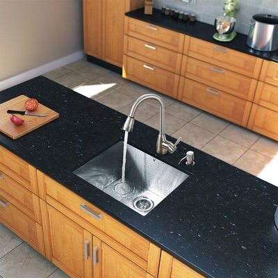 "Vigo 23"" x 20"" Zero Radius Single Bowl Kitchen Sink with Pull-Out Sprayer Faucet"