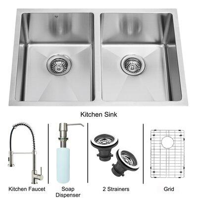 "Vigo 29"" x 20"" Double Bowl Kitchen Sink with Sprayer Faucet"