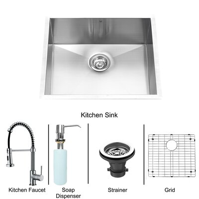 "Vigo 23"" x 20"" Zero Radius Single Bowl Kitchen Sink with Sprayer Faucet"
