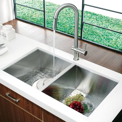"Vigo 32"" x 19"" Equal Double Bowl Zero Radius 16 Gauge Undermount Kitchen Sink"