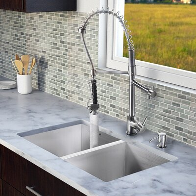 "Vigo 32"" x 19"" Zero Radius Double Bowl Kitchen Sink with Sprayer Faucet"