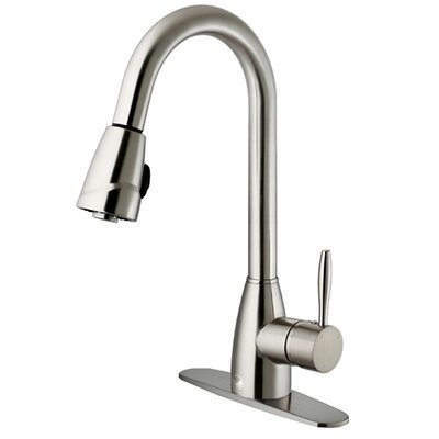 Vigo One Handle Single Hole Pull-Out Spray Kitchen Faucet with Deck Plate