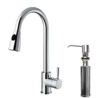 One Handle Single Hole Pull Out Spray Kitchen Faucet with Soap Dispenser
