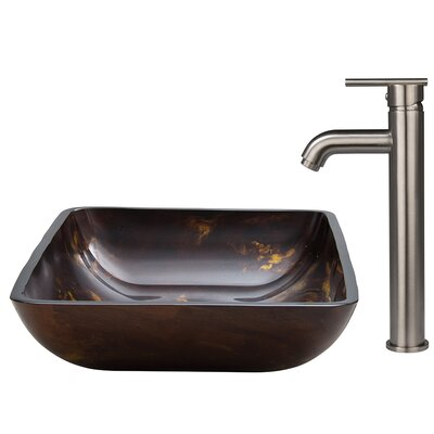 Fusion Glass Vessel Sink and Faucet Set - VGT308