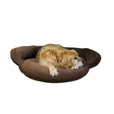 Velvet Microfiber Bolster Dog Bed in Brown