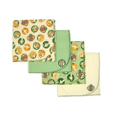 NoJo Jungle Babies High Flannel Blankets (Set of 4)